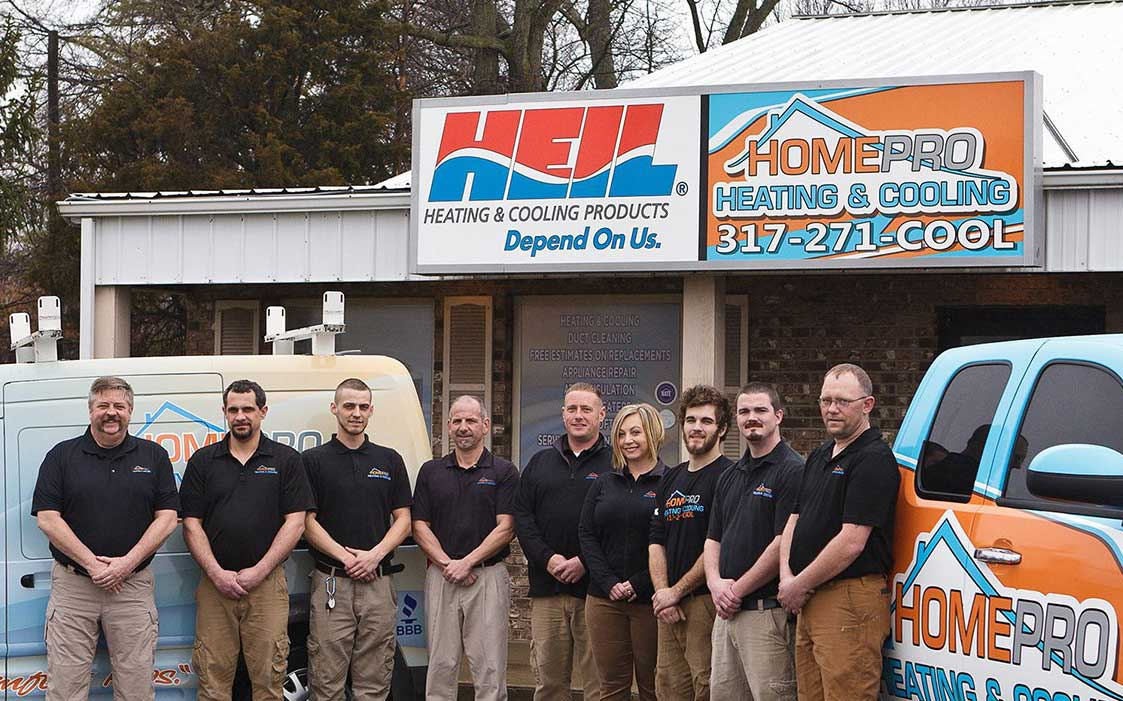 The HomePro team in front of their office in Avon